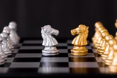 Horse chess set with enemy background.  Stock Images