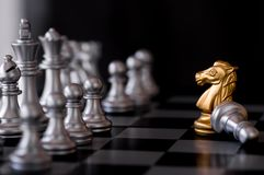 Horse chess set with enemy background.  Stock Photos
