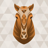 Horse. Chinese horoscope sign. Vector illustration in ethnic style royalty free illustration
