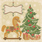 Horse and Christmas tree with gift. New year wooden horse and christmas tree with gift boxes. Symbol of New year. Greetings card. Vector illustration Stock Images