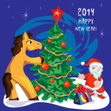 Horse and christmas tree Royalty Free Stock Photo
