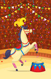 Horse circus performance. Circus performers. Animals making tricks at stage. Horse performer illustration Royalty Free Stock Photos