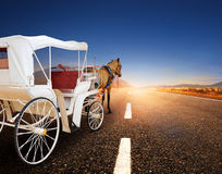 Horse and classic fairy tale carriage on asphalt road perspectiv. E to beautiful land scape with sun rising sky Royalty Free Stock Photos