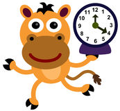 Horse clock. A running cartoon horse while carrying a clock Stock Photo