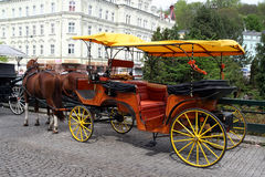 Horse coach. Vintage wooden  in Karlovy Vary, Czech Republic Royalty Free Stock Image