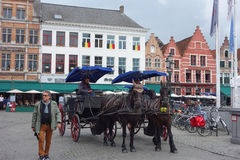 Horse coach in Calais Stock Photo