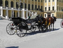 Horse coach at the Schonbrunn Palace, Vienna. Norse coach in front of the Schonbrunn Palace in Vienna, Austria Royalty Free Stock Photo