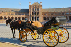 Horse coach at  Spain square Royalty Free Stock Photos
