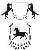 Horse coat of arms. A pair of illustrations of coat of arms with horses Royalty Free Stock Image