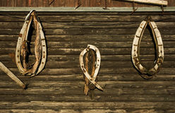 Horse collars on the wooden background Royalty Free Stock Image