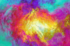 Horse in cosmic space. original hand draw. Color effect. Stock Images