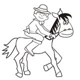 Horse and cowboy - coloring. Cowboy Riding - coloring pages for kids Stock Images