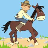 Horse and cowboy. Little cowboy riding a horse. Picture for children Stock Images