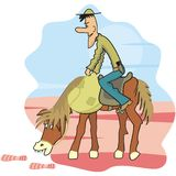 Horse and cowboy - stalker. A cowboy and his horse - stalker. Humorous illustratio Royalty Free Stock Images