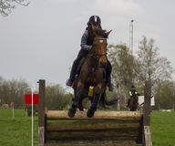 Horse cross country teenage competition jumping tree trunks and jumps over barrels of water and colored bars. The competitions are in europe girl wearing black Royalty Free Stock Images