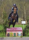 Horse cross country teenage competition jumping tree trunks and jumps over barrels of water and colored bars Royalty Free Stock Photos