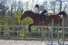 Horse cross country teenage competition jumping tree trunks and jumps over barrels of water and colored bars Stock Photo