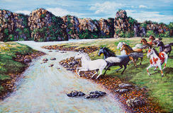 Horse crossing the river of oil painting Stock Photos