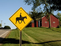 Horse crossing sign. Sign showing horses in the area Stock Photos