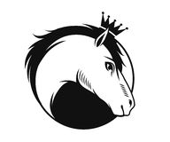 Horse with a crown emblem Stock Photo