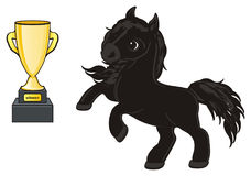 Horse with cup. Black horse stand with gold cup Stock Photos