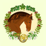 Horse dark chestnut  hunting theme vector Royalty Free Stock Photo