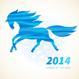 Horse, decorated with blue abstract wave patterns. Symbol of 2014. Horse, decorated with blue abstract wave patterns. Vector element for design. It can be used Stock Photography