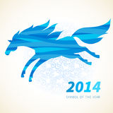 Horse, decorated with blue abstract wave patterns. Symbol of 2014. Horse, decorated with blue abstract wave patterns. Vector element for design. It can be used Royalty Free Stock Photo