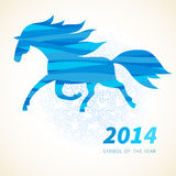 Horse, decorated with blue abstract wave patterns. Symbol of 2014. Horse, decorated with blue abstract wave patterns. Vector element for design. It can be used Royalty Free Stock Photography