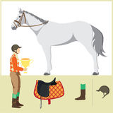 Horse. Derby. Equestrian sport. Vector Illustration of horse. Thoroughbred horse. The Sport of Kings. Horse with  Horseman and Saddle Royalty Free Stock Image