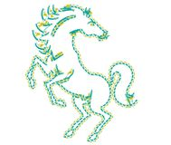 Horse on the white background is looking ahead. Horse designed as a line-art icon using special AI brush. This icon for nature, life, transportation and sport
