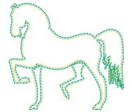 Trained horse on the white background is walking and looking ahead. Horse designed as a line-art icon using special AI brush. This icon for nature, life