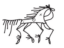 horse doodle stylized in traditional russian style Stock Images