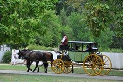 Horse-drawn γύροι μεταφορών σε Williamsburg, Βιρτζίνια Στοκ Φωτογραφία