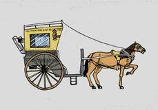 Horse-drawn μεταφορά ή λεωφορείο Απεικόνιση ταξιδιού χαραγμένο χέρι που σύρεται στο παλαιό ύφος σκίτσων, εκλεκτής ποιότητας μεταφ Στοκ Εικόνα