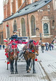 Horse-drawn μεταφορά σε Krakau Στοκ φωτογραφία με δικαίωμα ελεύθερης χρήσης