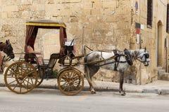 Horse-drawn μεταφορά στις οδούς Valletta Στοκ Εικόνα