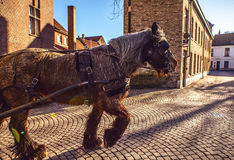 Horse-drawn μεταφορές στη Μπρυζ, Βέλγιο Στοκ φωτογραφίες με δικαίωμα ελεύθερης χρήσης