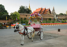 Horse-drawn ταξί τουριστών στην Ταϊλάνδη Στοκ εικόνες με δικαίωμα ελεύθερης χρήσης