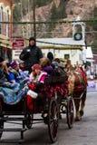 Horse-drawn γύρος βαγονιών εμπορευμάτων Στοκ Φωτογραφία