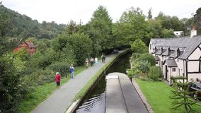 Horse drawn barge canal Llangollen Wales UK stock video footage