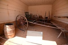 Horse Drawn Buggy Carriage. An antique horse drawn buggy type carriage still being used on some farms by mormons and puritans Stock Photo