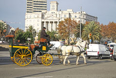 Horse-drawn carriage in Barcelona, Catalonia, Spain Royalty Free Stock Photography