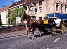Horse Drawn Carriage, Bruges. Royalty Free Stock Photography