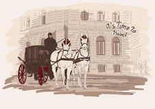 Horse-drawn carriage, building. Hand drawn sketch illustration in vector. Time to travel. Horse-drawn carriage, building. Vienna Austria. Hand drawn sketch Royalty Free Illustration