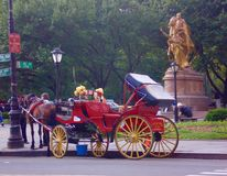Horse-Drawn Carriage at Central Park, New York, USA. Horse-Drawn Carriages are a wonderful way to experience the beauty of the Park. They can be found all year Royalty Free Stock Photo