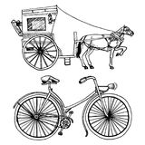 Horse-drawn carriage or coach and bicycle, bike or velocipede. travel illustration. engraved hand drawn in old sketch Royalty Free Stock Photo