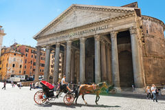 A horse-drawn carriage in front of Pantheon in Rome,Italy. Rome Stock Images