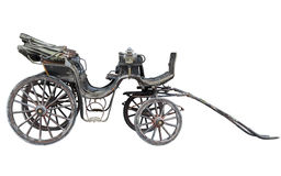 Horse drawn carriage isolated on white backhround. Old weathered horse drawn carriage isolated on white background Royalty Free Stock Image