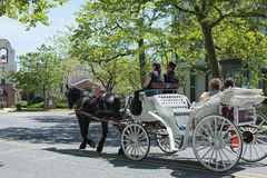 Horse drawn carriage in Jersey shore. Horse drawn carriage riding on city street stock photos